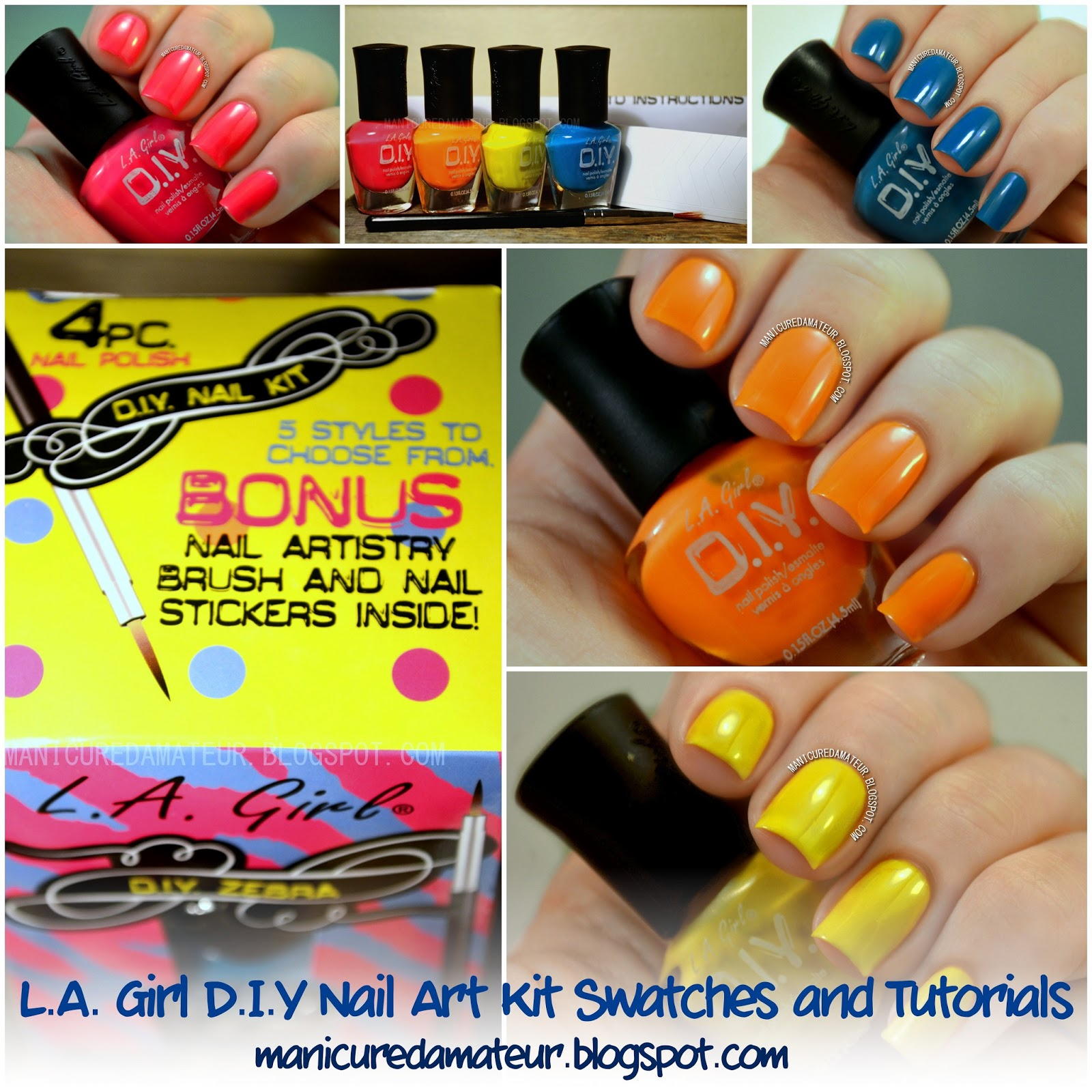 Amazing Shine Nail Art Kit Review: The Manicured Amateur: L.A. Girl 4 Piece Nail Polish DIY