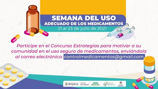 Semana del Uso Adecuado de Medicamentos, del 21 al 23 de julio en Boyacá