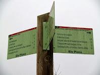 Indicador a la zona dels Plans, separació del Camí Ral d'Olot i el Sender de les Gorgues