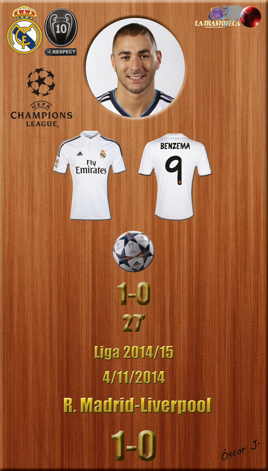 Benzema - (1-0) - Real Madrid 1-0 Liverpool - Champions League 2014/15 - (4/11/2014)