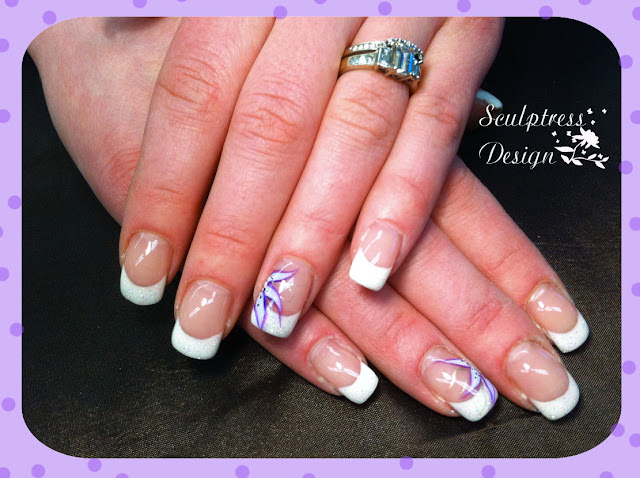 French Gel Nails Flower Design