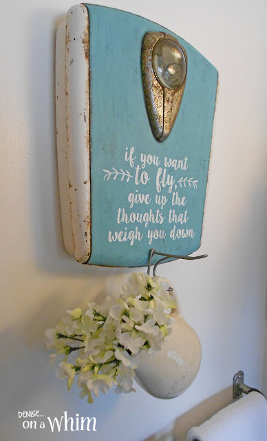 Vintage Scale Wall Hook in a Farmhouse Bathroom | Denise on a Whim