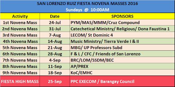 Fiesta  2016 - SLR Novena Mass Schedule