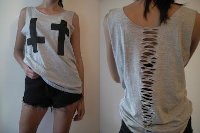 krzyż diy blogerska diy koszulka cięcia moda 2012