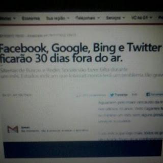 Facebook, Google, Bing e Twiter ficarão 30 dias fora do ar