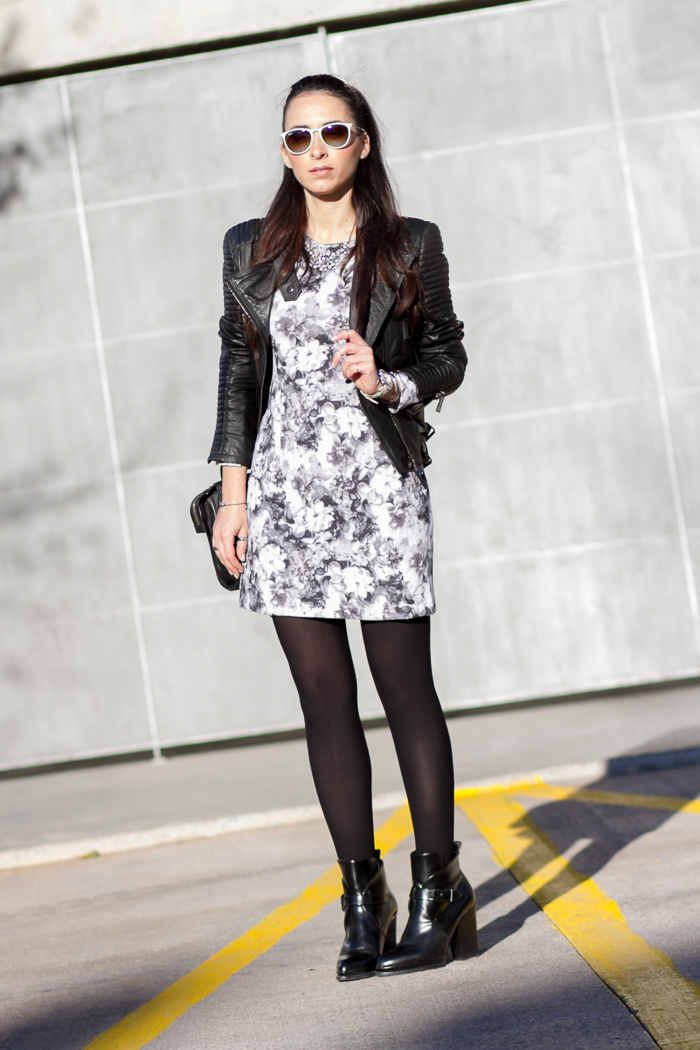Streetstyle Rock Touch on the Little Black and White Floral Dress  Fashion Blogger  withorwithoutshoes