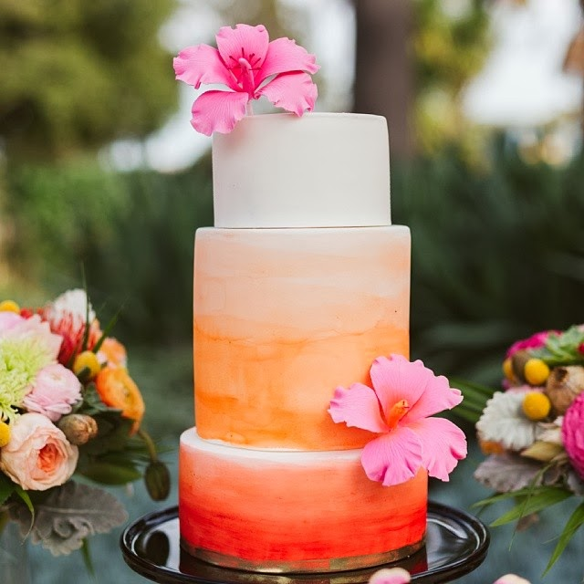 ombre watercolor cake hibiscus