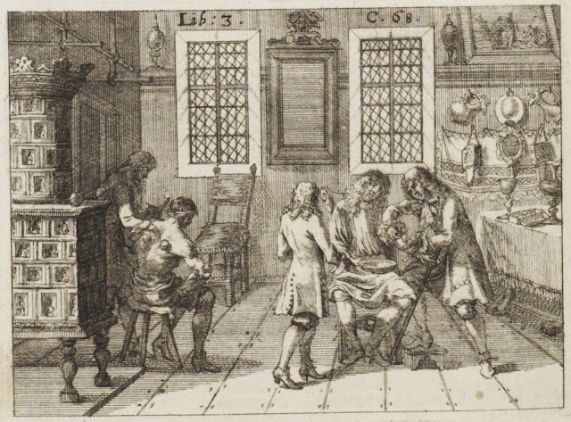 17th century engraving of traditional remedies: cupping and bloodletting