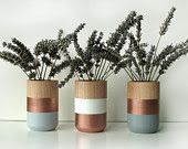 Set of 3 Painted Wooden Vases Copper Blue White