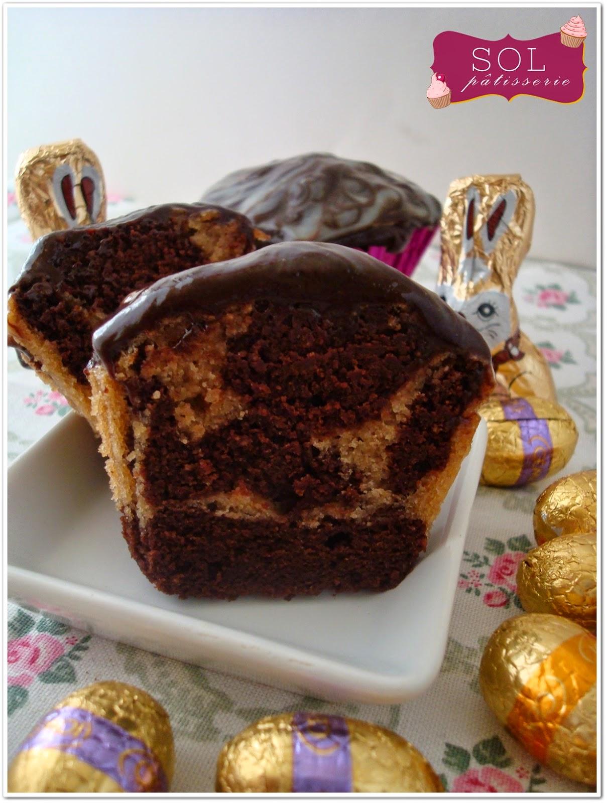 Cupcakes marbrés sans gluten - Cupcakes marmoreados sem gluten