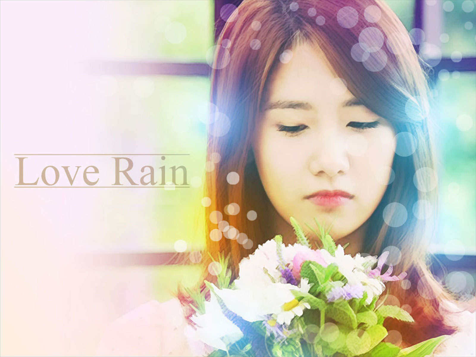 Cute Love Rain HD Desktop Wallpaper