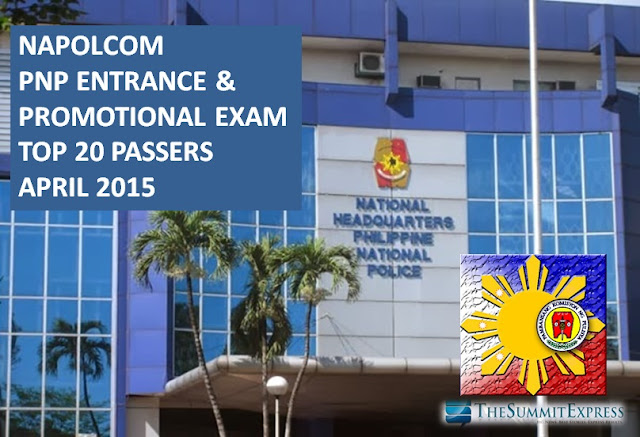 April 2015 NAPOLCOM exam Top 20 Passers named