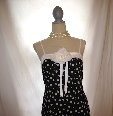 Polka Dot Strap Dress, Embellished with Handmade White Rosette Brooch with Pearls, Madman Inspired Style