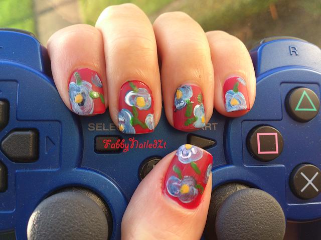 floral abstract nail art