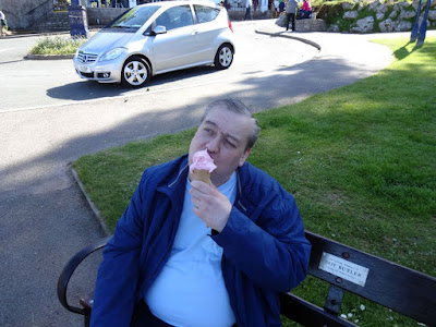 Mr UKBuses enjoys his ice cream!