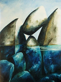 Painting:  Caught Rock.  Artist:  Pamela Hunt Lee