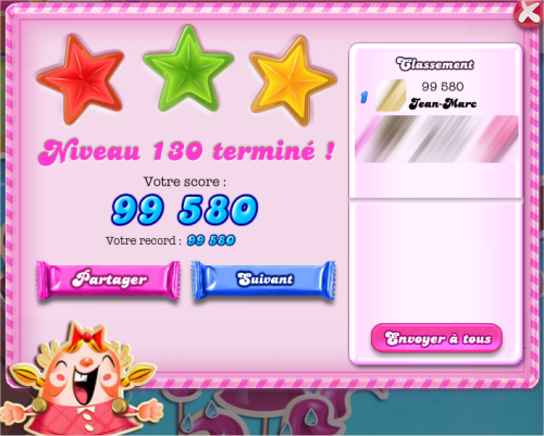 capture d'écran Candy Crush Saga - niveau 130 terminé