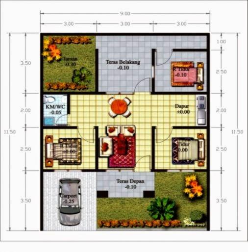 Gambar Desain Denah Rumah Minimalis Modern 1 Lantai 3 Kamar Tidur