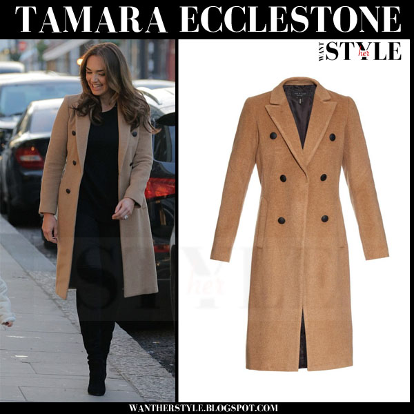 Tamara Ecclestone in camel rag and bone faye double breasted coat what she wore streetstyle