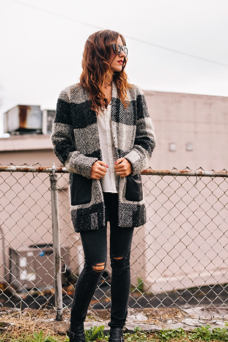 piperlime, greylin jacket, wool checkered jacket, rag and bone jeans, distressed denim, piperlime denim, fall style