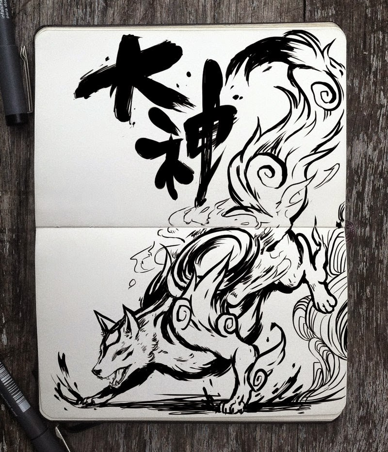 29-Okami-Gabriel-Picolo-365-Days-of-Doodles-end-of-2014-www-designstack-co