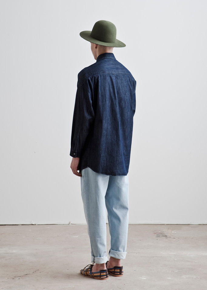 double denim with hat and sandals