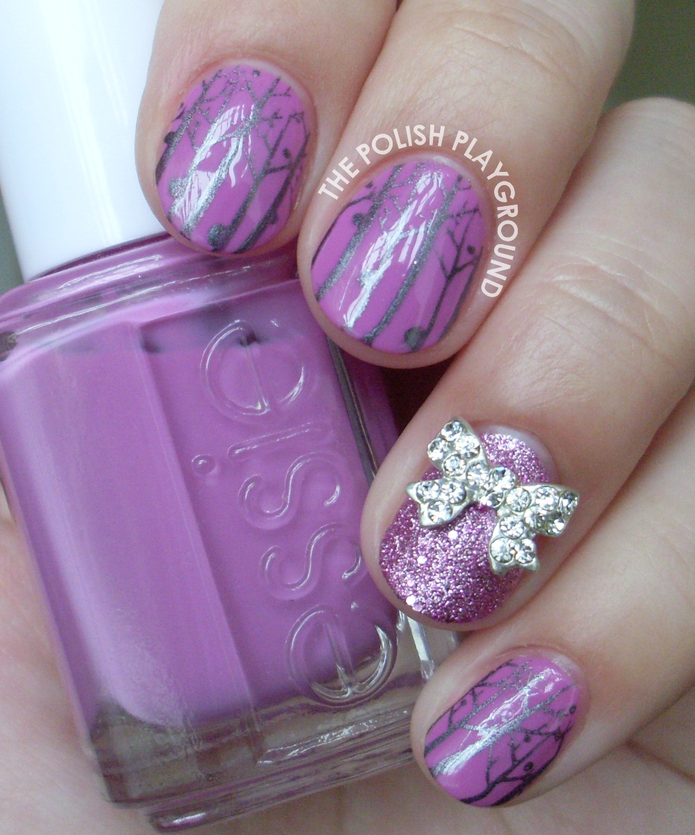 Purple and Silver Forest with Bow Stud Accent Nail Art Stamping