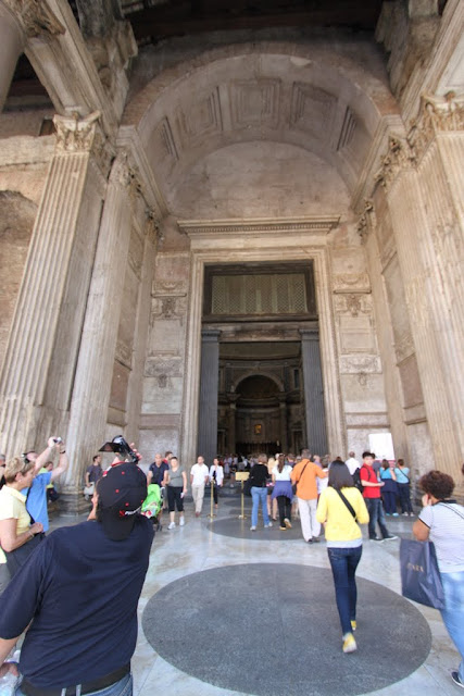 Heading to the main entrance of the Pantheon in Rome, Italy