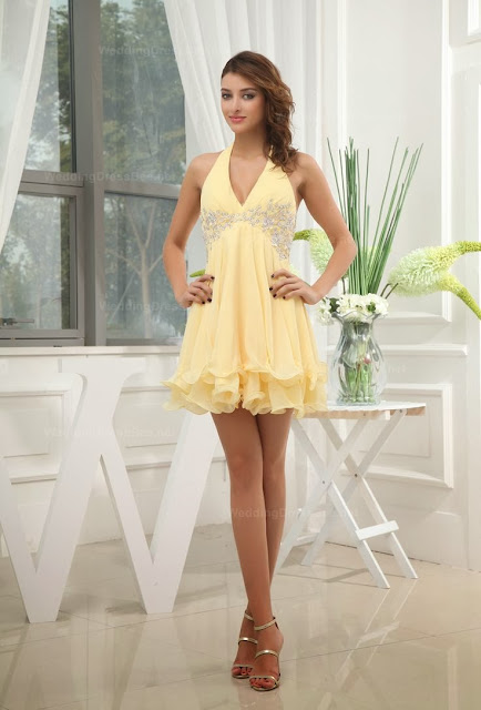 Canary Color Short Dress