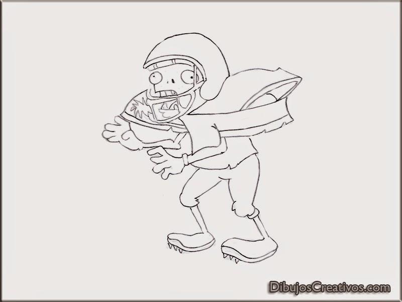 Dibujos de Zombie Futbolista de Plantas vs Zombies para pintar ...
