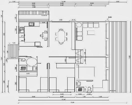 Planos de casas plano de casa con medidas for Planos de casas 90m2