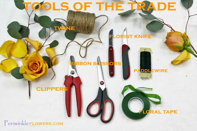 florist tools via periwinkle flowers