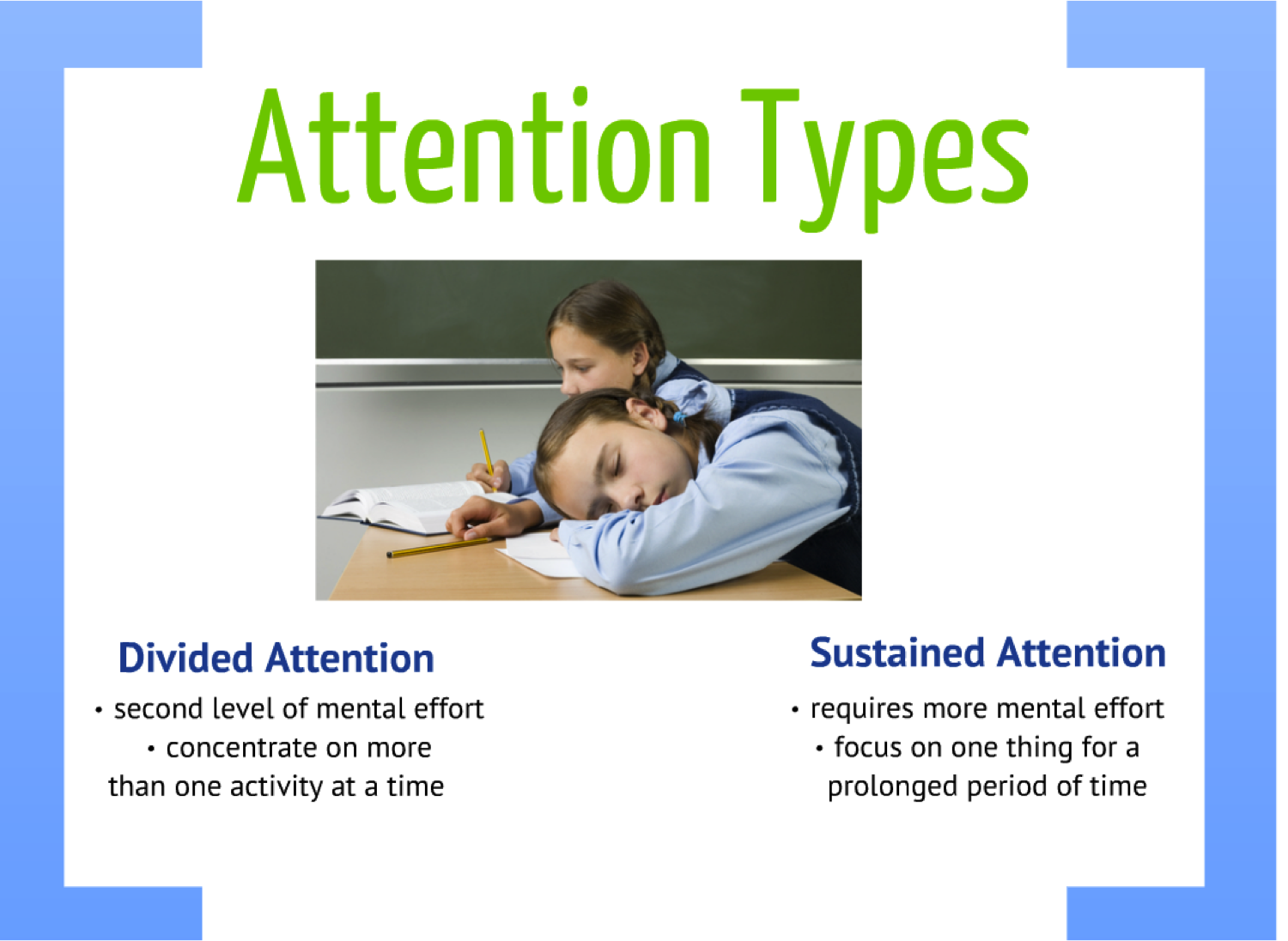 dividing attention That divided attention effects occur, starting with simple stimuli and tasks as we did with selective attention we then offer an initial theoretical analysis, asking what aspect of processing is the.