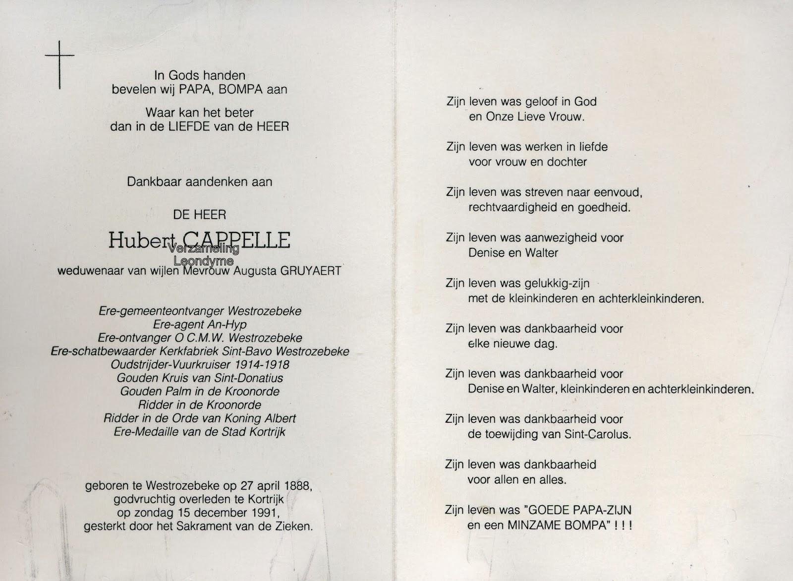 Bidprentje, Hubert Capelle 1888-1991. Verzameling Leondyme.
