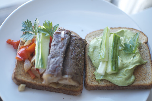 On toasted bread, spread avocado puree, top with sliced cucumber ...