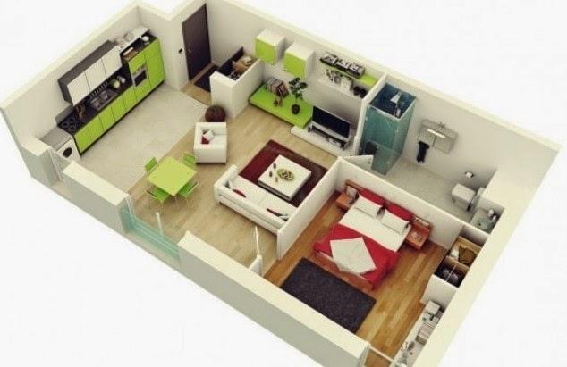 Denah Rumah Minimalis 1 Lantai 2 3 Kamar Tidur Desain