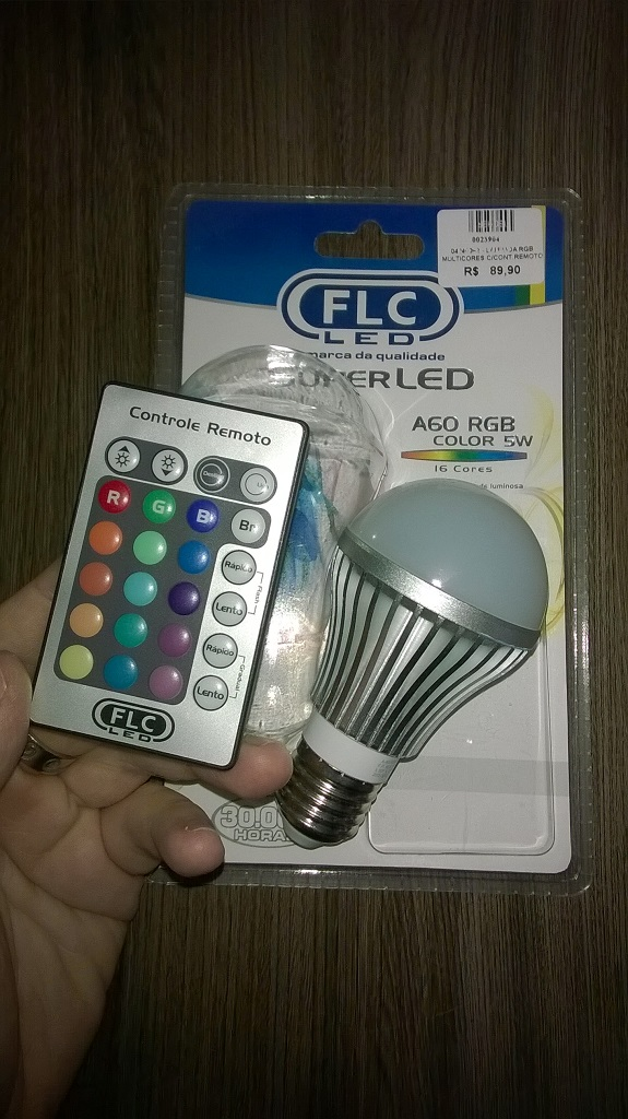 lampada flc super led a60 rgb controle remoto