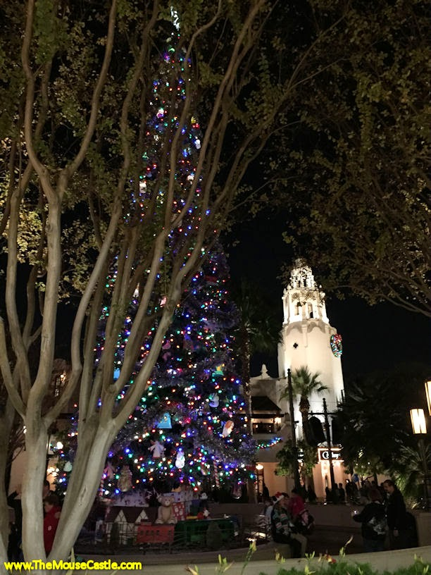 Carthay Circle and the Buena Vista Street Christmas tree