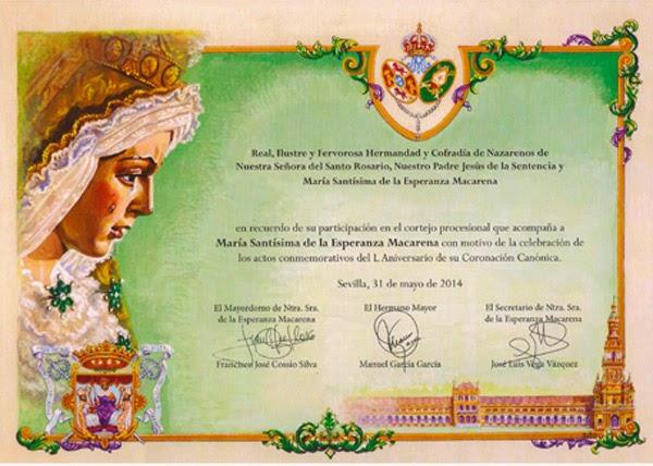 Papeleta L Aniv. Coronación Macarena - 2014