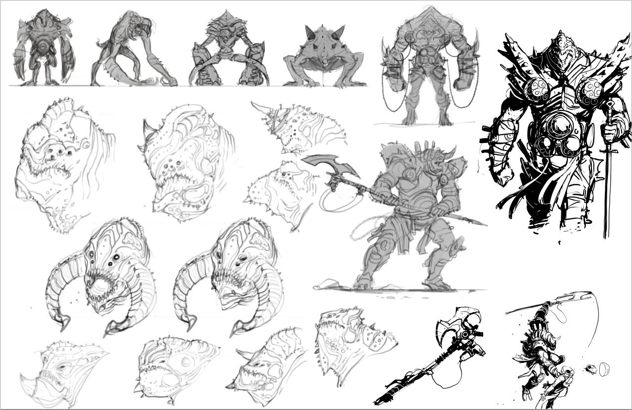 illustration de David Sladek representant des croquis de monstre guerrier