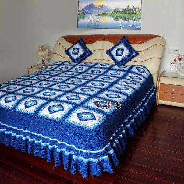 Покрывало на кровать вязание 3
