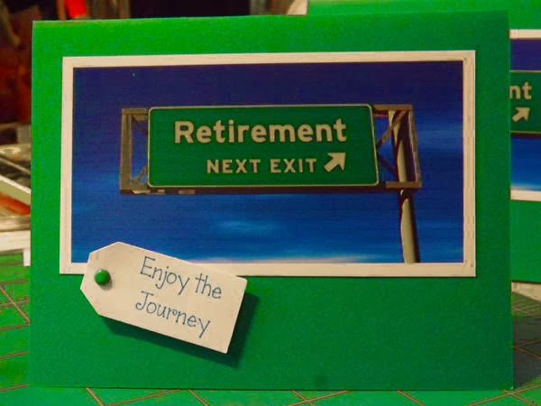 "image of ""retirement next exit"" post card with a ""enjoy the journey"" tag"