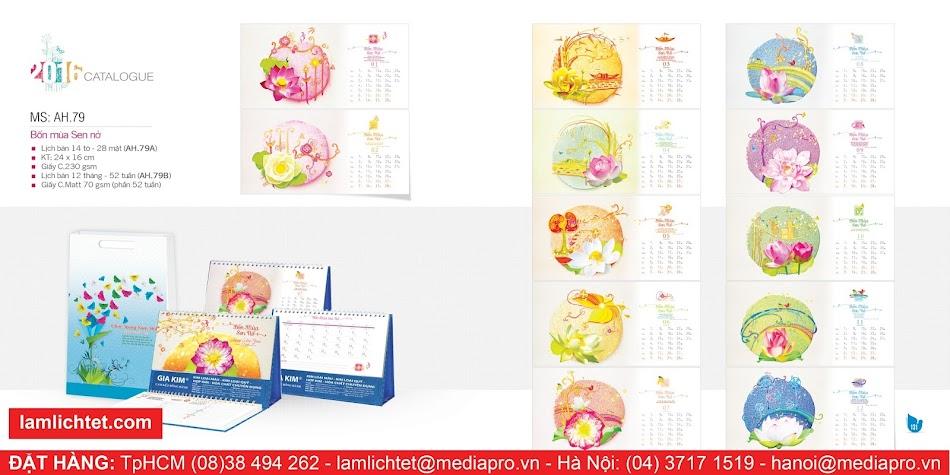 In Lịch Để Bàn Đẹp,TpHCM Hà Nội, Mẫu Lịch Bàn AH79 Bốn Mùa Sen Nở