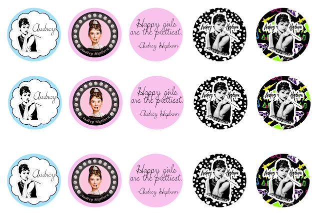Audrey Hepburn: Etiquetas o Toppers para Imprimir Gratis.