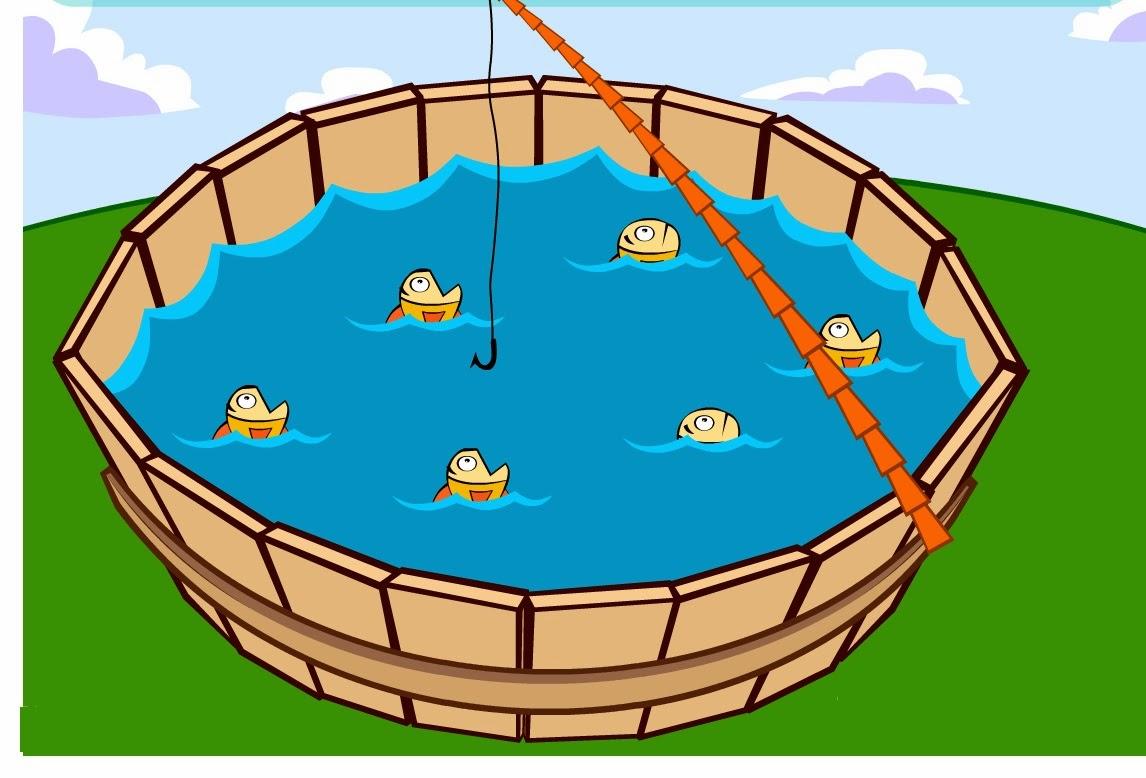 Chegou a hora da pescaria, tente pegar o maior número de peixes.