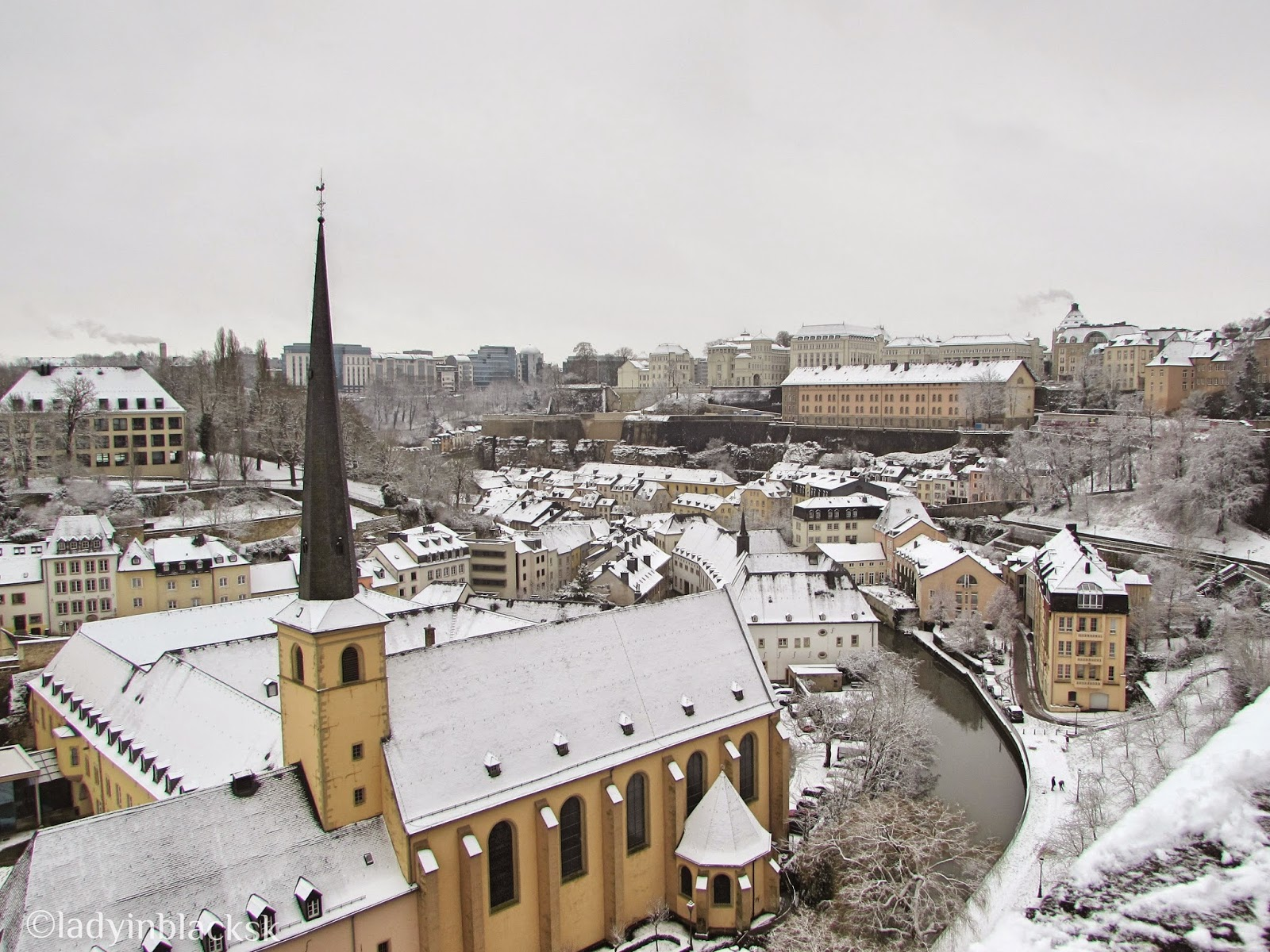 Luxembourg covered in snow