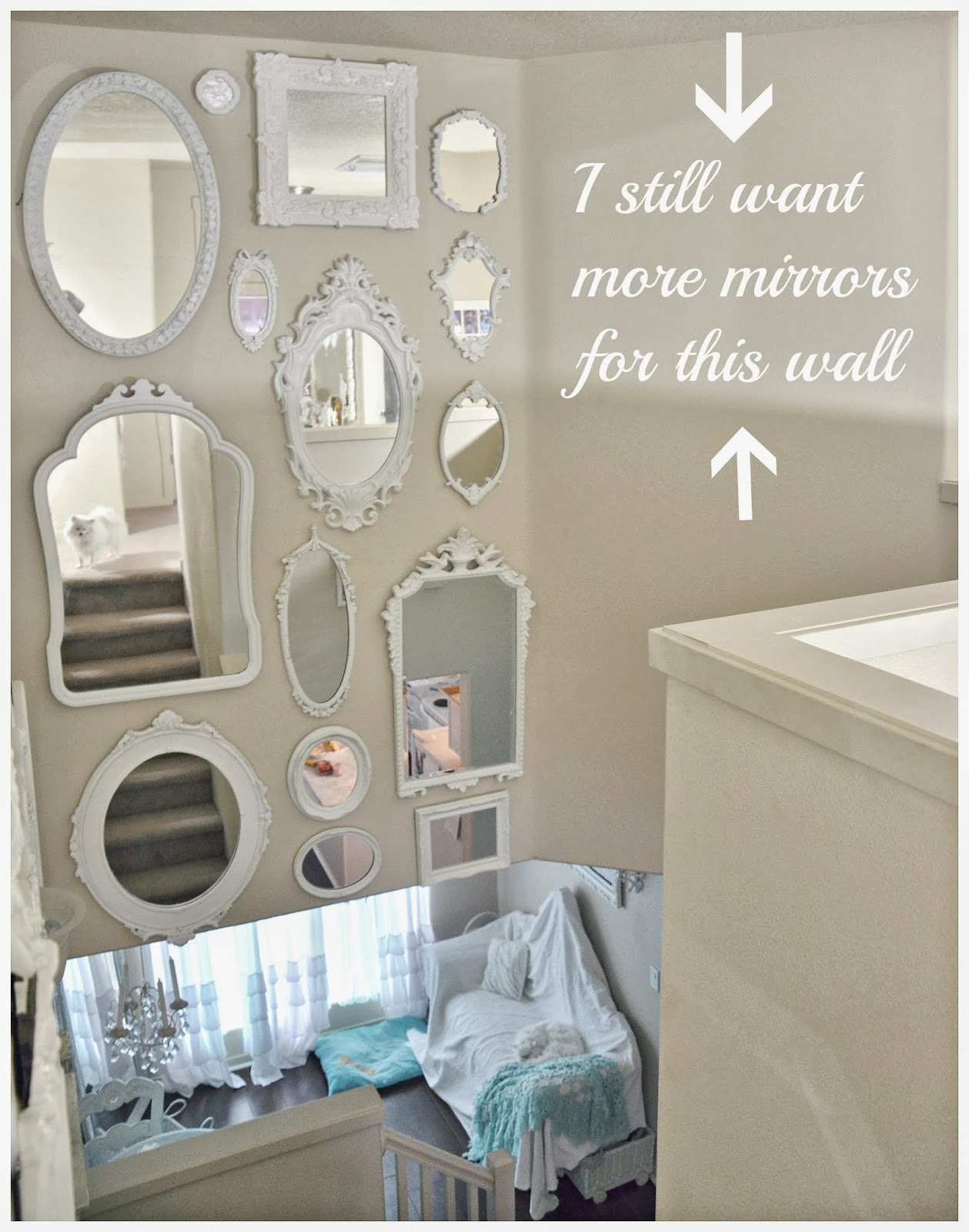 Not so shabby shabby chic mirror wall is almost complete on my last post i had posted this photo above saying i still needed more mirrors for this wall amipublicfo Image collections