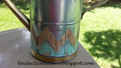 Eclectic Red Barn: Watering Can with two strips of chevron paper