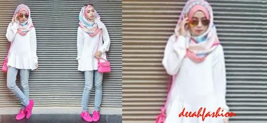 Gaya Jilbab Pink Punk Style 2014