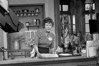 Julia Child on the set of her cooking show: The French Chef